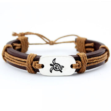 Save Sea Turtle Bracelet | Handmade Leather Wrap