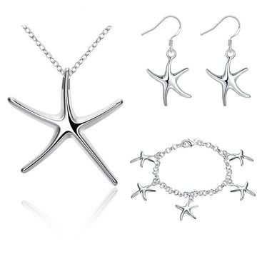 925 Silver Starfish Earring Bracelet Necklace Set | Sterling Silver Nautical Jewelry