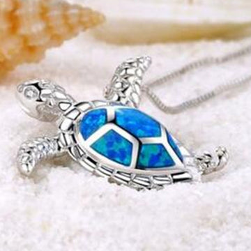 Crystal Opal Pendant | Sterling Silver Sea Turtle Necklace