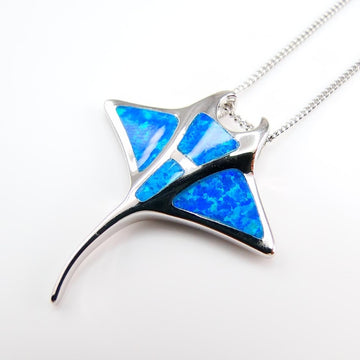 Save Stingrays Necklace | Manta Ray Opal Pendant