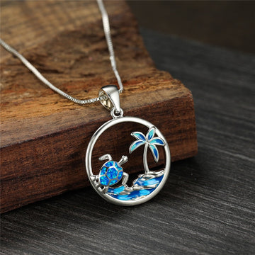 Save the Ocean Jewelry | Blue Opal Sea Turtle Necklace