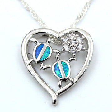 Heart Shape Silver Pendant Charm | Blue Opal Baby Turtle Necklace
