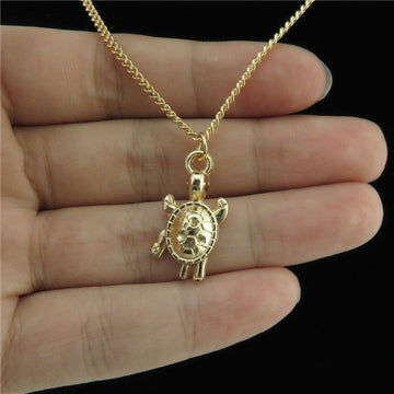 Baby Sea Turtle Pendant | Stylish Gold Turtle Necklace