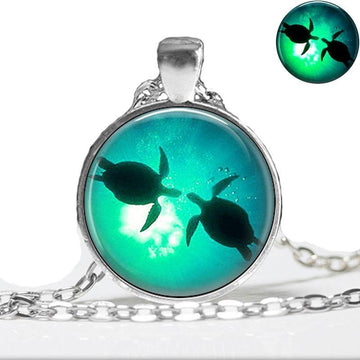Glow in the Dark Pendant | Glowing Sea Turtle Necklace
