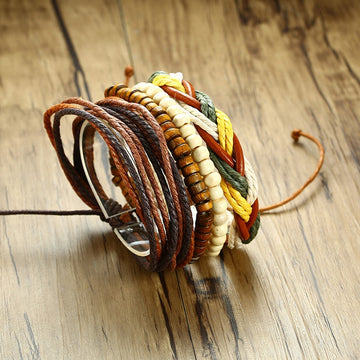 Boho Tribal Leather Bracelet | Beaded Wristband Link Chain Wrap