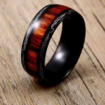 Polished Titanium Nature Lover Jewelry | Stainless Steel Wood Ring