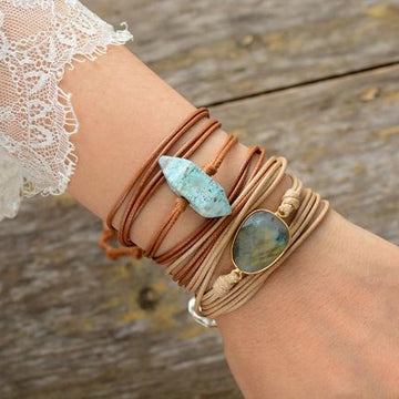 Natural Stone Leather Wrap | Ethnic Tribal Bracelet