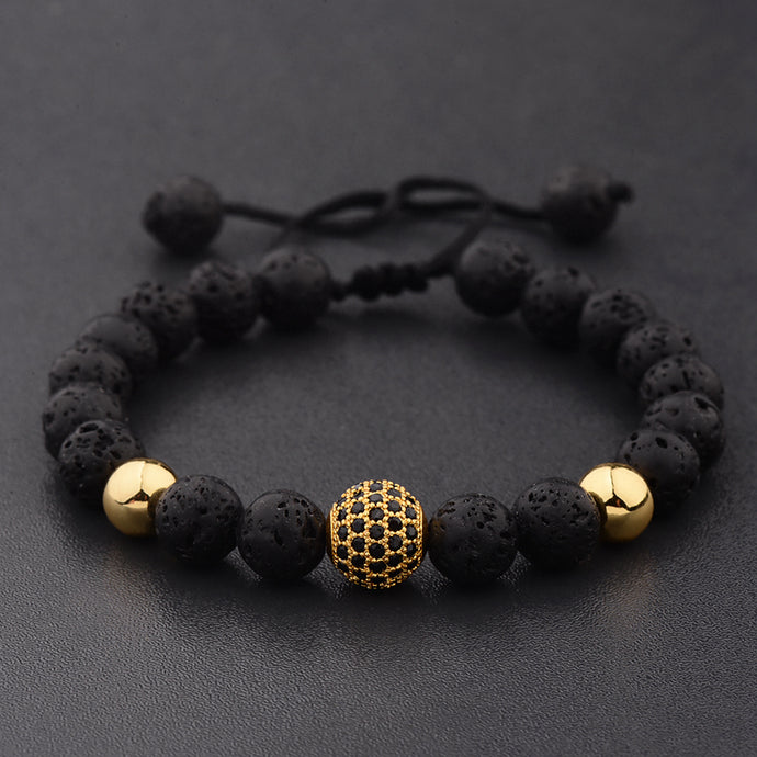 Save Ocean Charity Bracelet Round Black CZ Pave Lava Stone Weave Adjustable 15 STYLES