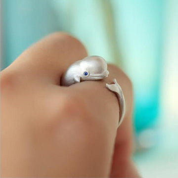 Save the Whales Jewelry | Sterling Silver Beluga Whale Ring
