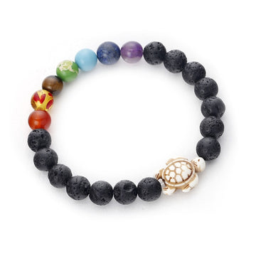 Chakra Beads Jewelry | Natural Crystal Lava Stone Bracelet