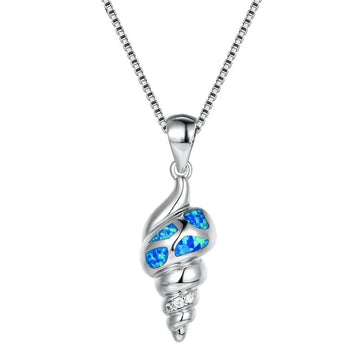 Conch Shell Opal Pendant | Sterling Silver Necklace Ocean Jewelry