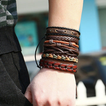 Stylish Punk Bracelet | Handmade Leather Braid Wrap
