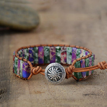 Boho Tribal Leather Wrap | Natural Stone Ocean Bracelet