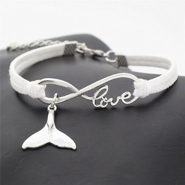Love Charm Nautical Pendant | Leather Whale Tail Bracelet