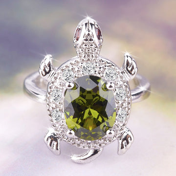 Save Sea Turtle Jewelry | Green Sea Crystal Turtle Ring