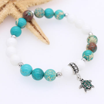 Ocean Beaded Bracelets | Sea Turtle Natural Stone Bangles