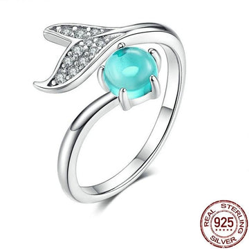 Save Sea Life Jewelry | Silver Blue Whale Tail Pearl Ring