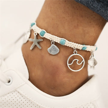 Save Sea Life Jewelry | Starfish Shell Wave Anklet
