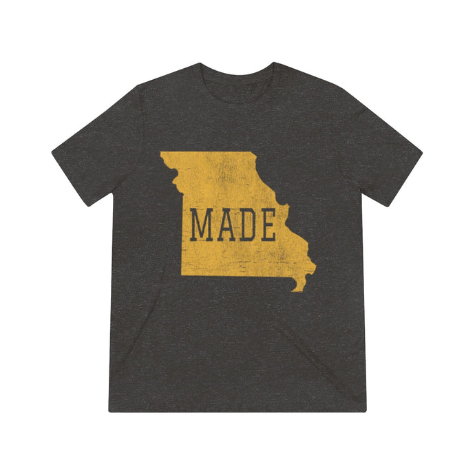 MADE- Unisex Triblend Tee (gold print)
