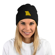 Load image into Gallery viewer, Missouri Gold Embroidery Pom-Pom Beanie