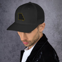 Load image into Gallery viewer, Missouri (black and gold embroidery) Trucker Cap