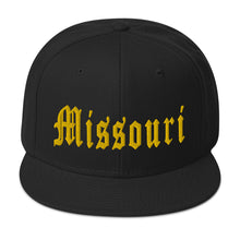 Load image into Gallery viewer, Missouri Old English Snapback Hat (gold embroidery)