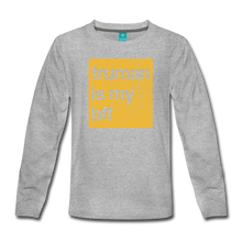 Load image into Gallery viewer, truman is my bff - gold - Kids' Premium Long Sleeve T-Shirt - heather gray