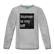 Load image into Gallery viewer, truman is my bff-black print-Kids' Premium Long Sleeve T-Shirt - heather gray