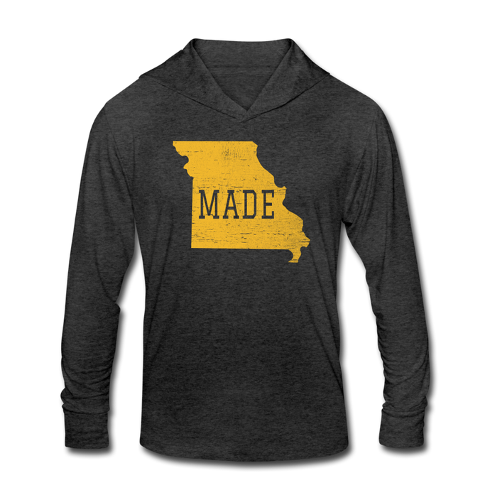 Made-Unisex Tri-Blend Hoodie Shirt - heather black