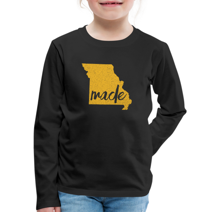 Made (Missouri Gold print) Kids' Premium Long Sleeve T-Shirt - black