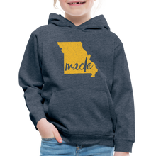 Load image into Gallery viewer, Made (Missouri Gold print) Kids' Premium Hoodie - heather denim