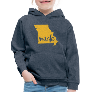 Made (Missouri Gold print) Kids' Premium Hoodie - heather denim