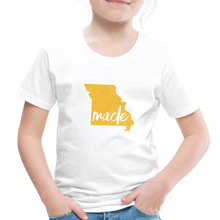Load image into Gallery viewer, Made (Missouri Gold print) Toddler Premium T-Shirt - white