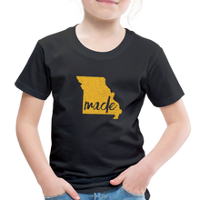 Load image into Gallery viewer, Made (Missouri Gold print) Toddler Premium T-Shirt - black