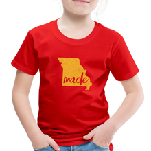 Load image into Gallery viewer, Made (Missouri Gold print) Toddler Premium T-Shirt - red