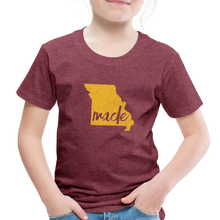 Load image into Gallery viewer, Made (Missouri Gold print) Toddler Premium T-Shirt - heather burgundy
