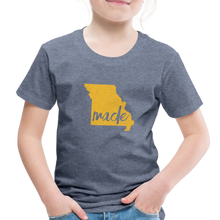 Load image into Gallery viewer, Made (Missouri Gold print) Toddler Premium T-Shirt - heather blue