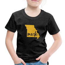 Load image into Gallery viewer, Made (Missouri Gold print) Toddler Premium T-Shirt - charcoal gray