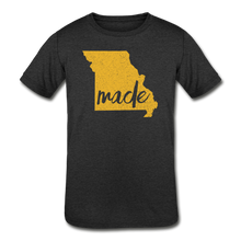Load image into Gallery viewer, Made (Missouri Gold print) Kids' Tri-Blend T-Shirt - heather black