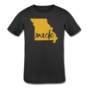 Made (Missouri Gold print) Kids' Tri-Blend T-Shirt - heather black