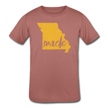 Load image into Gallery viewer, Made (Missouri Gold print) Kids' Tri-Blend T-Shirt - mauve