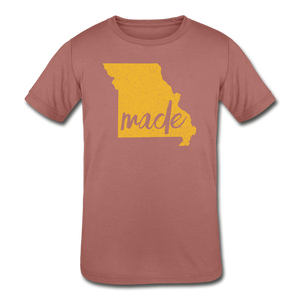 Made (Missouri Gold print) Kids' Tri-Blend T-Shirt - mauve