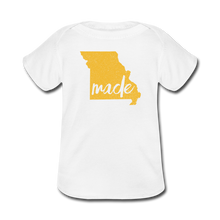 Load image into Gallery viewer, Made (Missouri Gold print) Baby Lap Shoulder T-Shirt - white