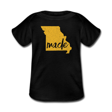 Load image into Gallery viewer, Made (Missouri Gold print) Baby Lap Shoulder T-Shirt - black
