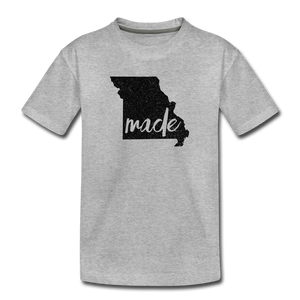 Made (Missouri black print) Kids' Premium T-Shirt - heather gray