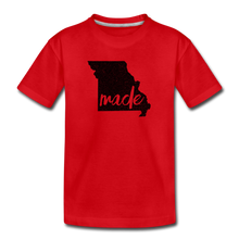 Load image into Gallery viewer, Made (Missouri black print) Kids' Premium T-Shirt - red