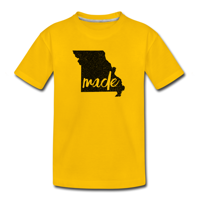 Made (Missouri black print) Kids' Premium T-Shirt - sun yellow