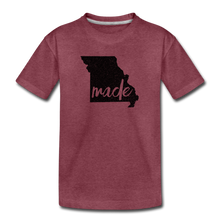 Load image into Gallery viewer, Made (Missouri black print) Kids' Premium T-Shirt - heather burgundy