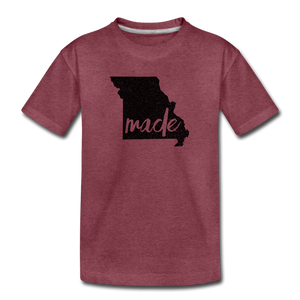 Made (Missouri black print) Kids' Premium T-Shirt - heather burgundy