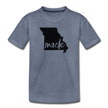 Load image into Gallery viewer, Made (Missouri black print) Kids' Premium T-Shirt - heather blue